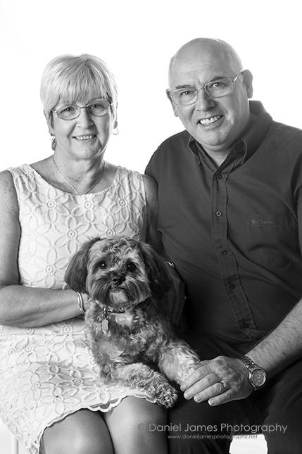 mom dad dog portrait