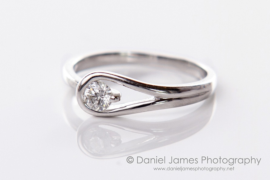 white gold diamond ring product photography