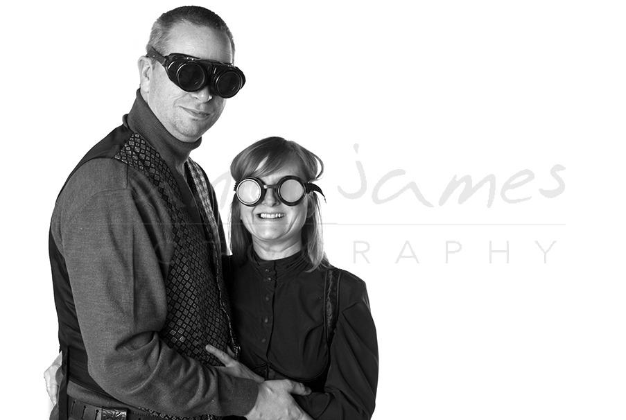 steampunk engagement photo shoot