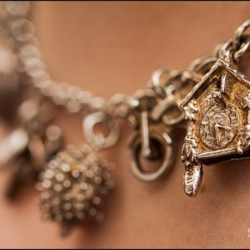 charm bracelet necklace macro