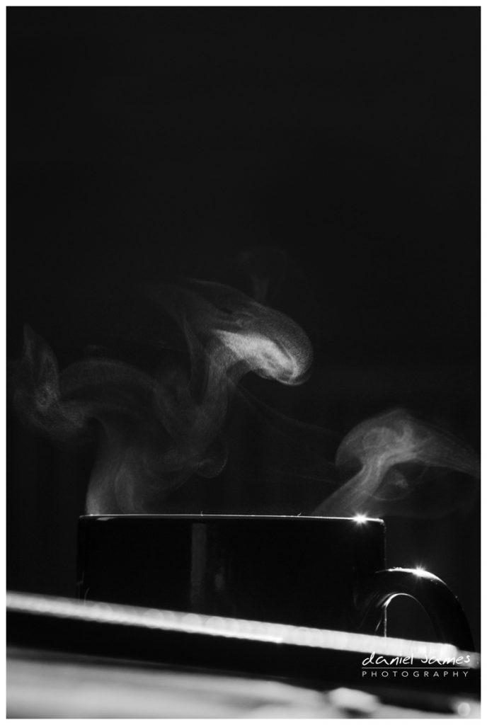 black white coffee steam mug