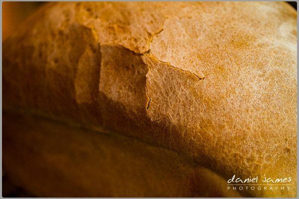 closeup farmhouse loaf bread baking